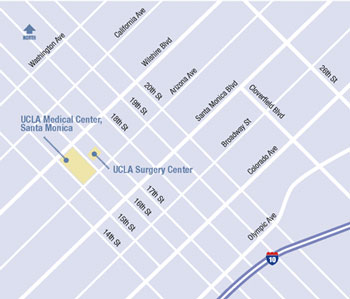 Map of UCLA Breast Center Santa Monica
